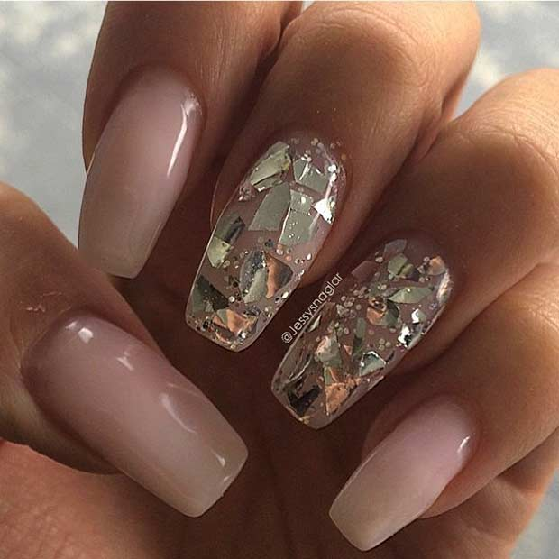 Nud Coffin Nails with Golden Sequins