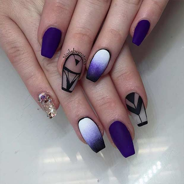Violet Ombre Negative Space Coffin Nails