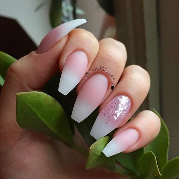 mată Ombre Coffin Nails