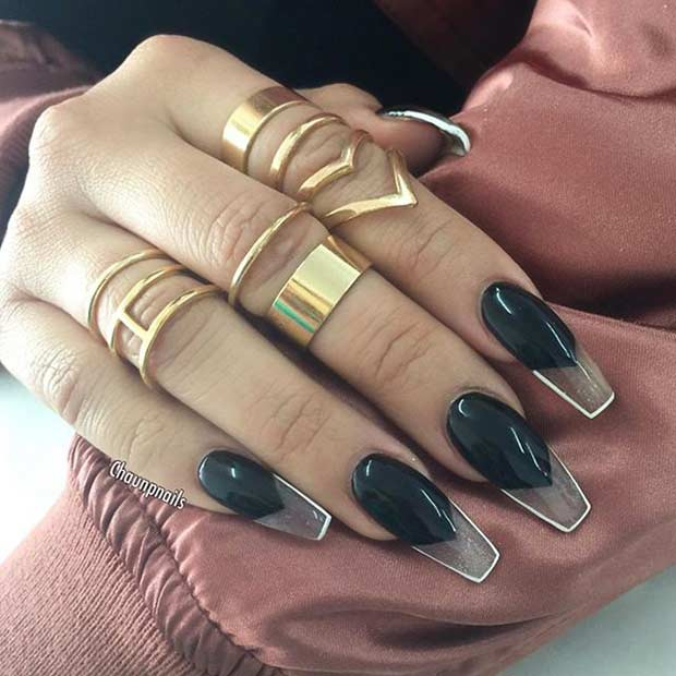 Îndrăzneţ Black Coffin Nail Design