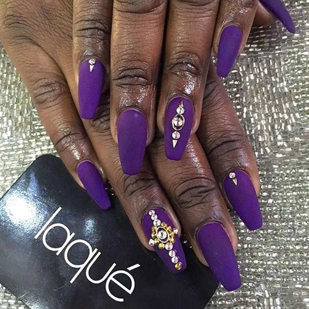 mată Purple Coffin Nails with Rhinestones