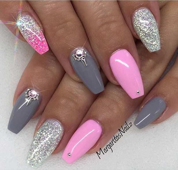 Roz and Gray Coffin Nail Design