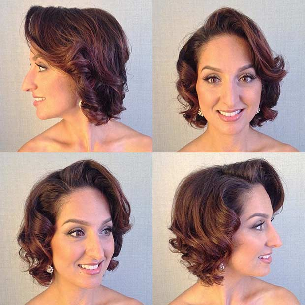 moderan Vintage Wedding Hairstyle for Short Hair