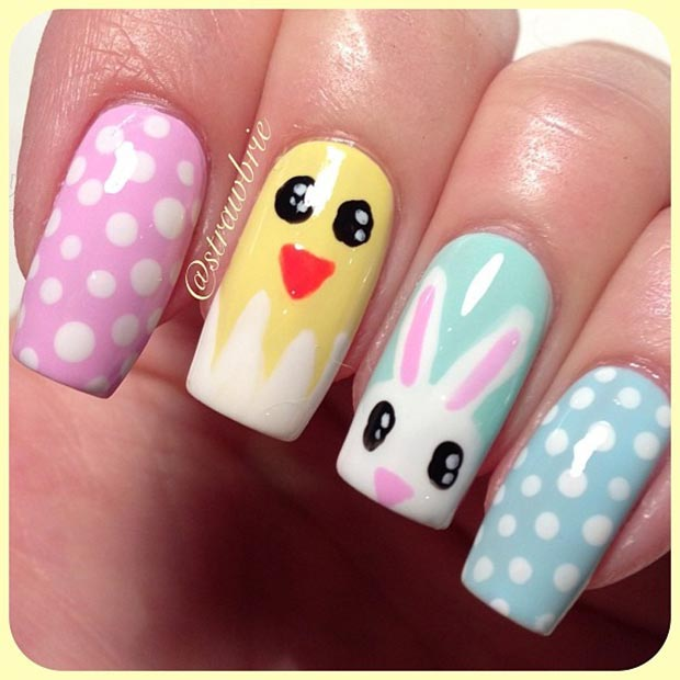 อีสเตอร์ Nail Design for Long Nails