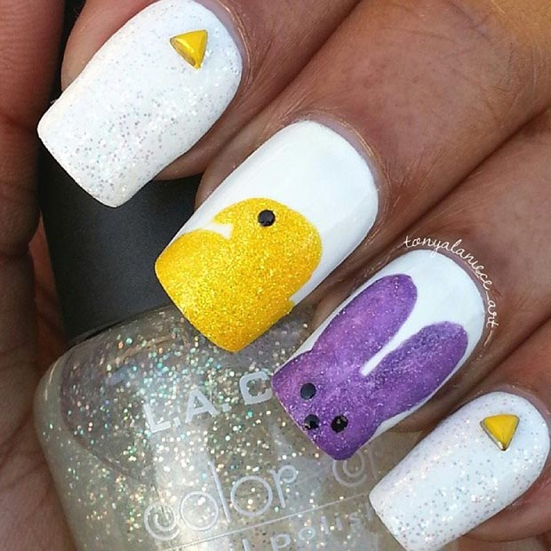 ง่าย and Simple Easter Nail Art Design