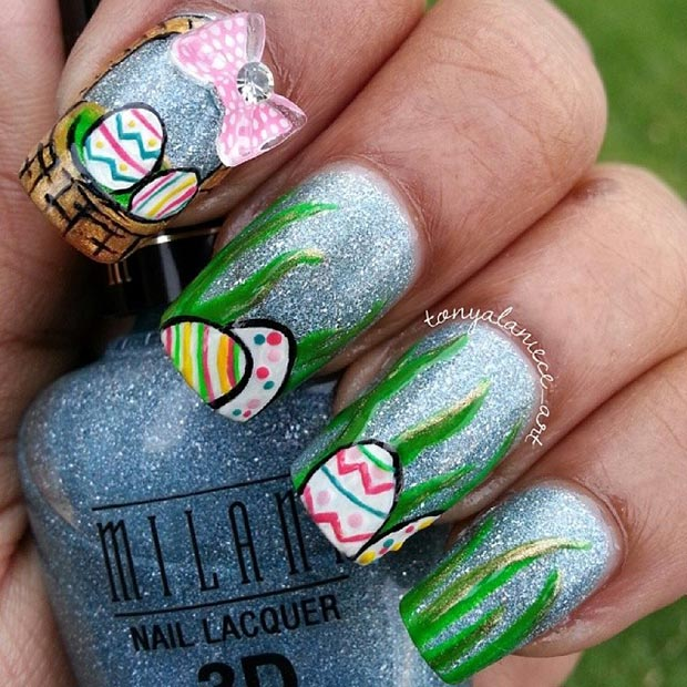 ตะกร้า Eggs Easter Nail Design