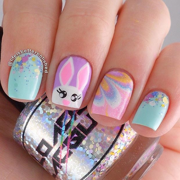 อีสเตอร์ Nail Design for Short Nails