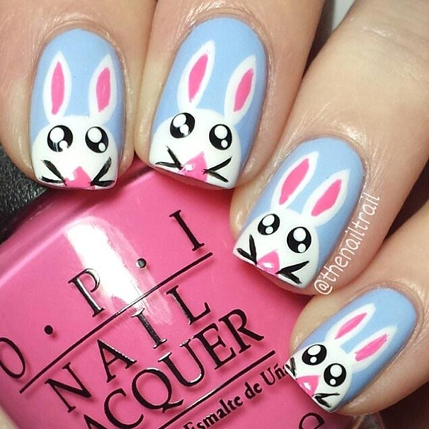 ขาว and Blue Easter Bunny Nail Art