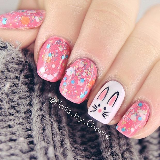ขาว Bunny Accent Nail Art Design