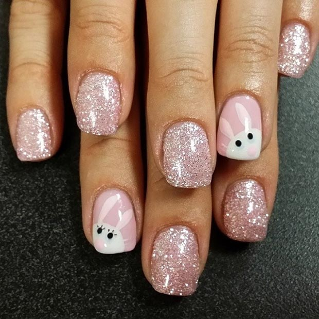 สีชมพู Sparkly Easter Nail Design