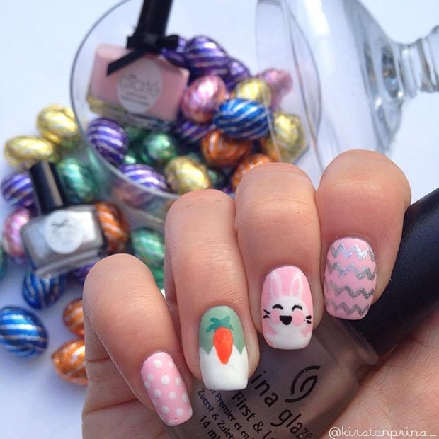 ขาว and Pink Easter Nail Art Design