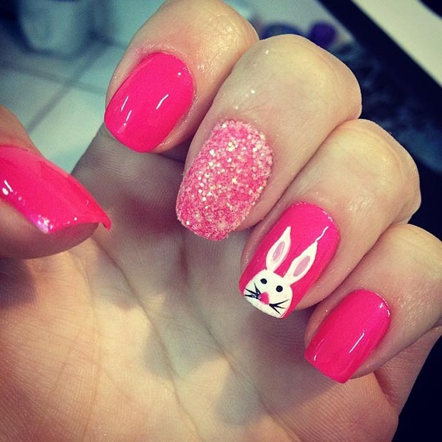ร้อน Pink Easter Nail Art Design