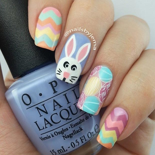 มีสีสัน Easter Nail Design for Long Nails