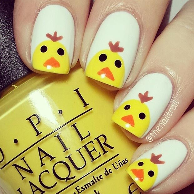 ง่าย Easter Chicken Nail Design