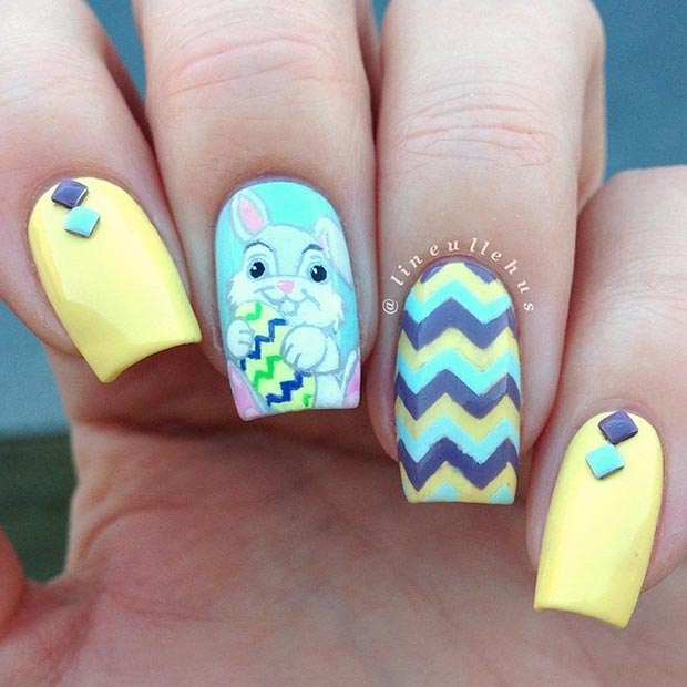อีสเตอร์ Blue and Yellow Nail Design