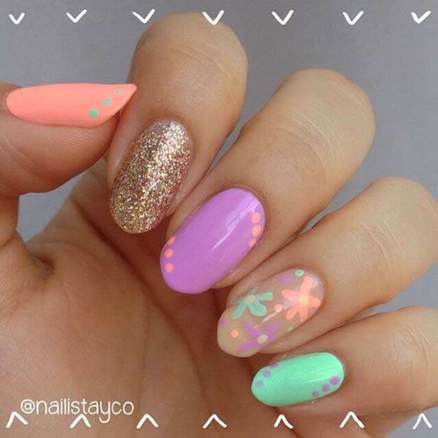 Ljus and Colorful Nail Design for Beach