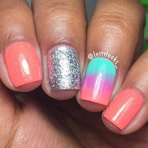 Neon Coral Nail Design for Short Nails