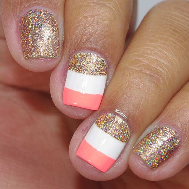 Guld Glitter Nail Design for Summer and Short Nails