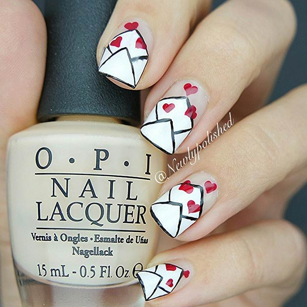 Aşk Letters Valentines Day Nails