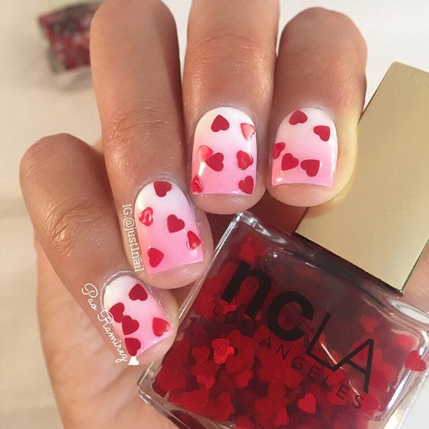 Пинк and White Ombre Nails with Red Hearts
