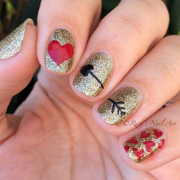 Љубав Arrow Nail Design for Valentines Day