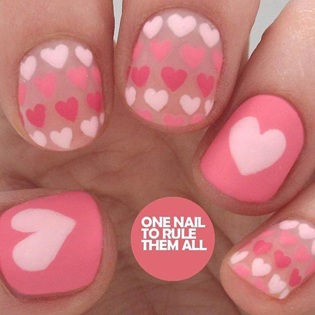 mat Valentines Day Nail Design