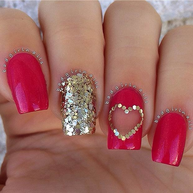 Altın and Red Valentines Day Nails