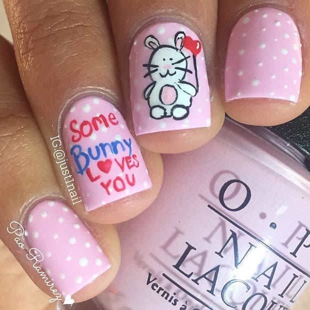 Sevimli Bunny Valentines Day Nails