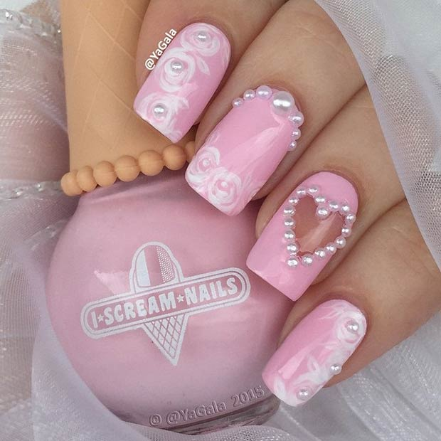 Pembe and White Valentines Day Nails
