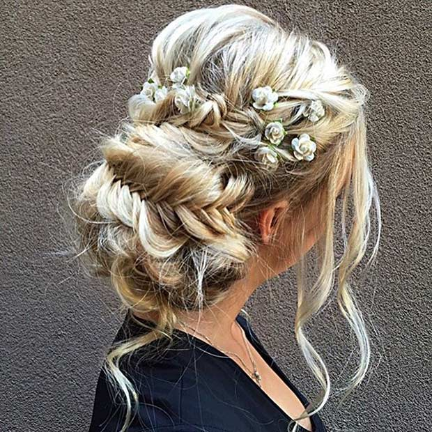 boho Braided Updo with Flowers