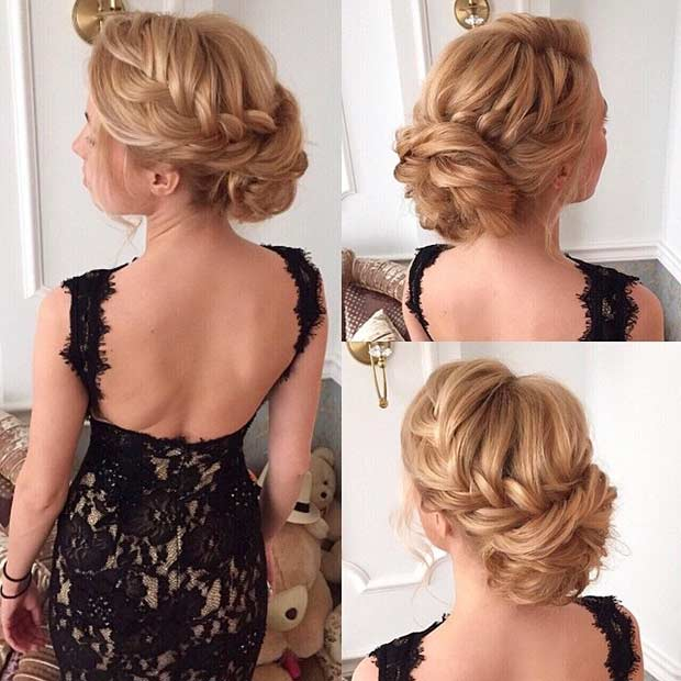 צמות into Messy Bun Updo for Bridesmaids or Prom