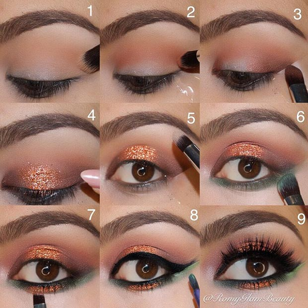 baker and Green Glitter Eyes Look