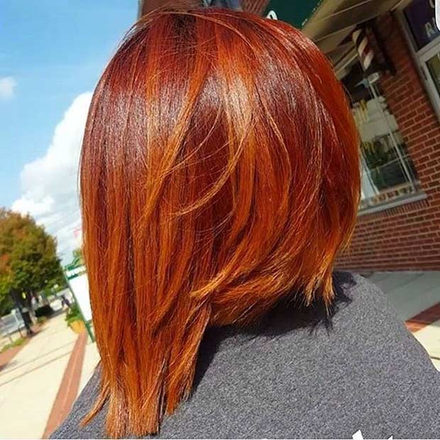 Kısa Orange Red Inverted Bob Haircut