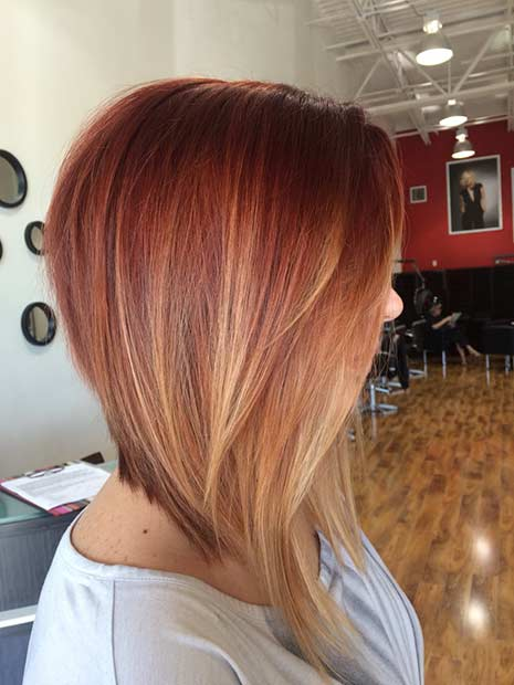 Uzun Copper Balayage Inverted Bob Hairstyle
