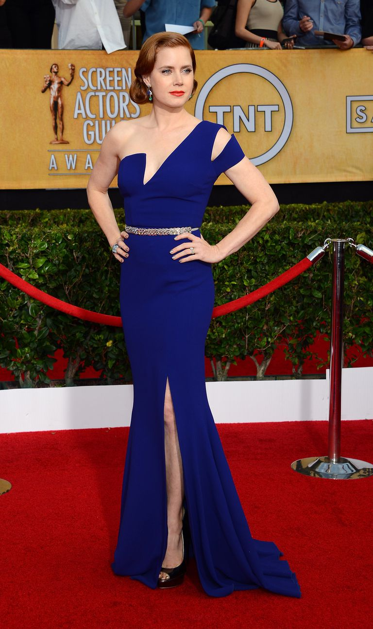 Amy Adams cobalt blue gown