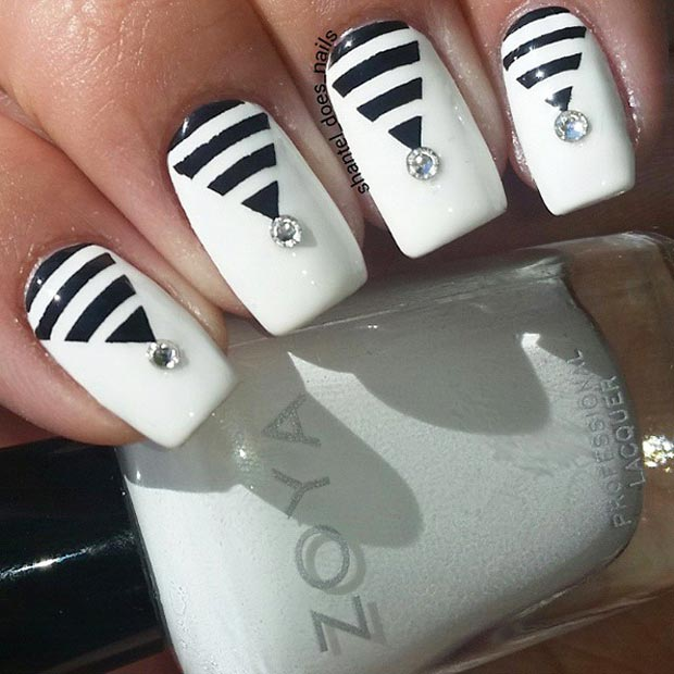 Črna and White Swarovski Nail Design
