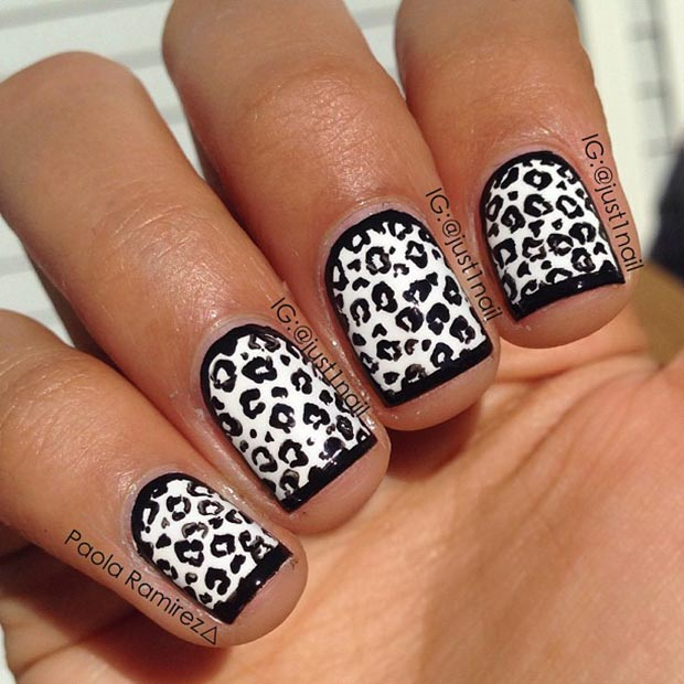 Črna and White Cheetah Nails