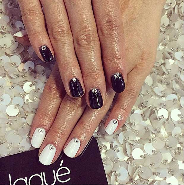 Preprosto Black and White Nail Design with Rhinestones