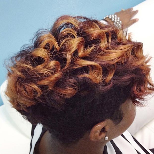 Piros & Gold Curly Short Hairstyle