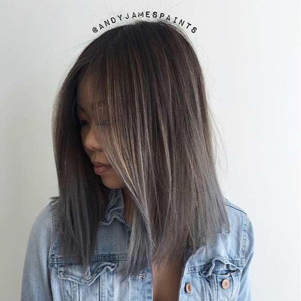 Smokey Grey Ombre Medium HairSmokey Grey Ombre Medium Hair