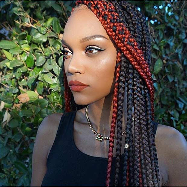 Fekete and Red Poetic Justice Braids Hairstyle