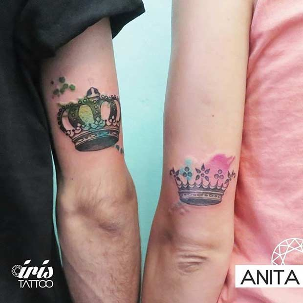 מלך and Queen Watercolor Tattoos for Couples