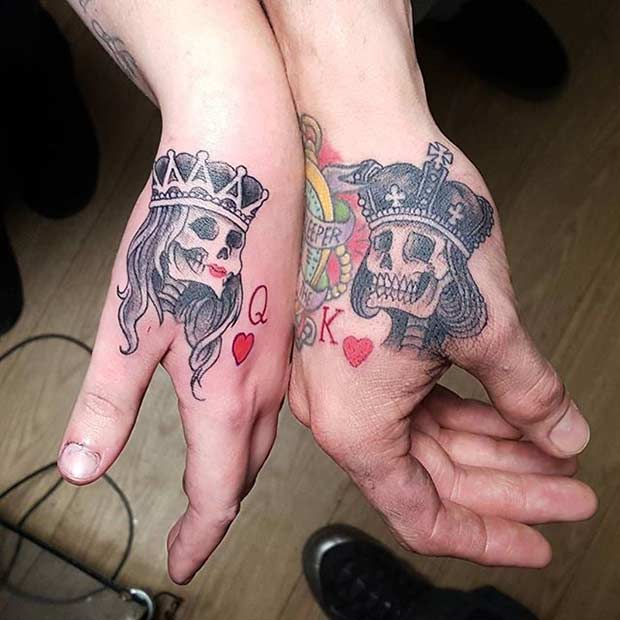 גולגלות with Crowns Couple Tattoos Idea