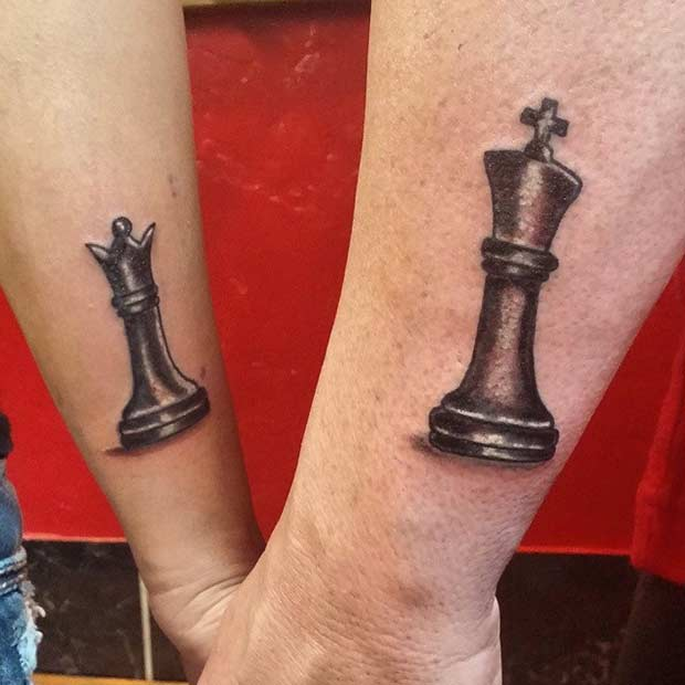 מלך and Queen Chess Tattoos for Couples