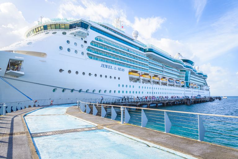 Роиал Caribbean cruise ship docked in Martinique