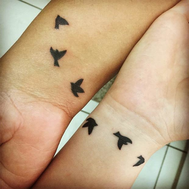 אִמָא Daughter Matching Swallow Tattoos