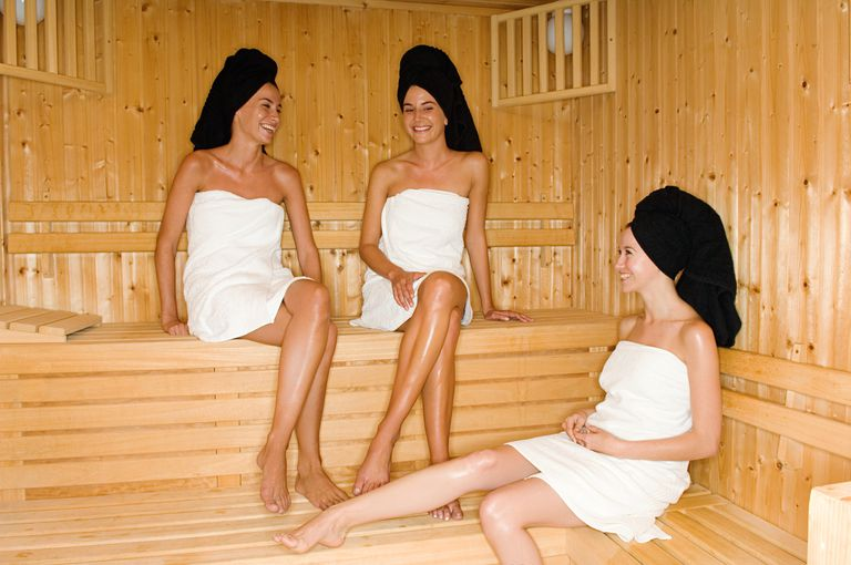 3 women in sauna at spa for girl's night out