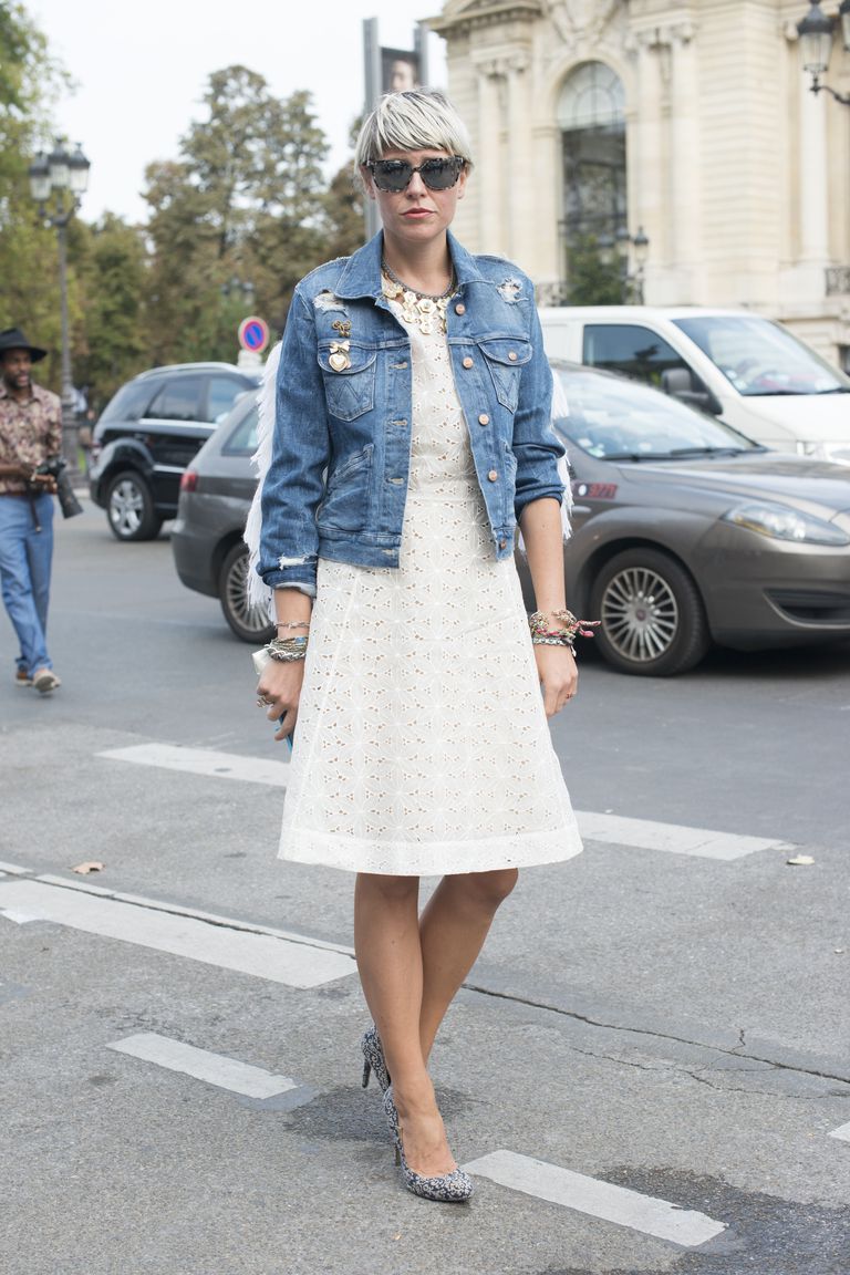utca style photo with denim jacket and white dress