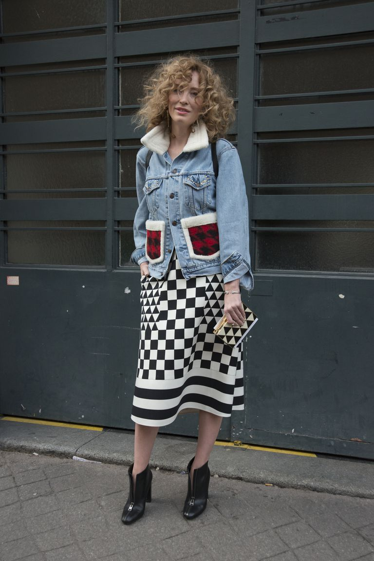 utca style photo of jean jacket over long skirt