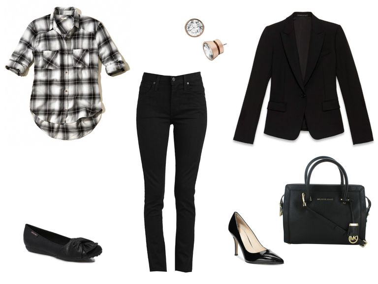 Црн and white denim and plaid outfit ideas